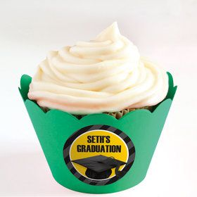 Yellow Caps Off Graduation Personalized Cupcake Wrappers (Set of 24)