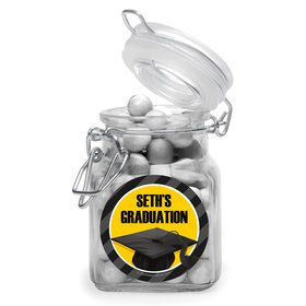 Yellow Caps Off Graduation Personalized Glass Apothecary Jars (10 Count)
