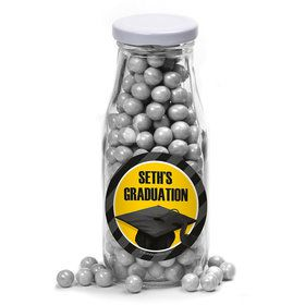 Yellow Caps Off Graduation Personalized Glass Milk Bottles (12 Count)