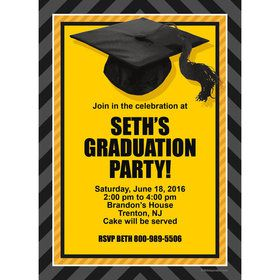 Yellow Caps Off Graduation Personalized Invitation (Each)