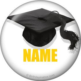 Yellow Caps Off Graduation Personalized Mini Magnet (Each)