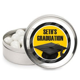 Yellow Caps Off Graduation Personalized Mint Tins (12 Pack)