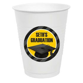 Yellow Caps Off Graduation Personalized Party Cups