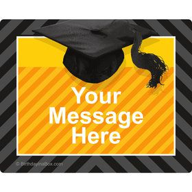 Yellow Caps Off Graduation Personalized Rectangular Stickers (Sheet of 15)