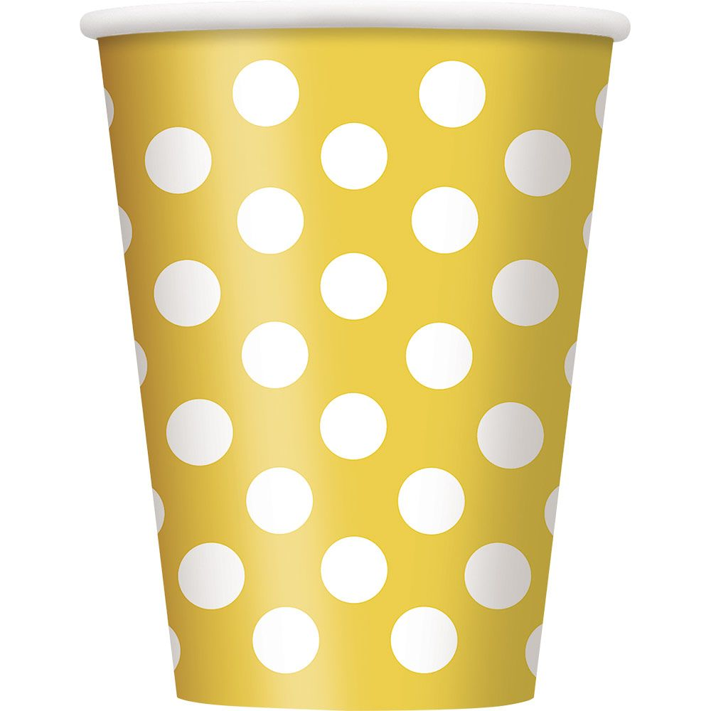 Yellow Dots 12oz Cups (6 Pack) - Party Supplies BB37476