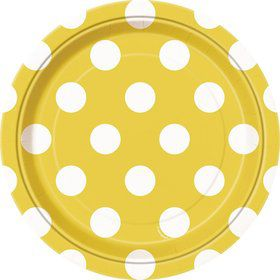 "Yellow Dots 7"" Cake Plates (8 Pack)"