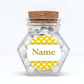 "Yellow Dots Personalized 3"" Glass Hexagon Jars (Set of 12)"