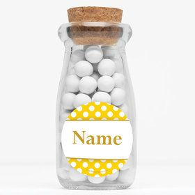 "Yellow Dots Personalized 4"" Glass Milk Jars (Set of 12)"