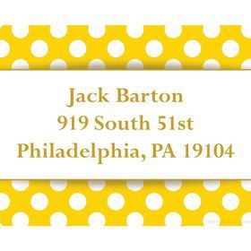 Yellow Dots Personalized Address Labels (Sheet Of 15)