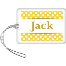 Yellow Dots Personalized Bag Tag (Each)