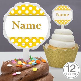 Yellow Dots Personalized Cupcake Picks (12 Count)
