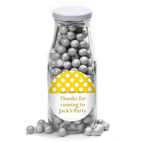 Yellow Dots Personalized Glass Milk Bottles (10 Count)