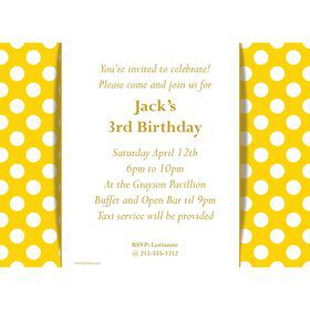 Yellow Dots Personalized Invitation (Each)
