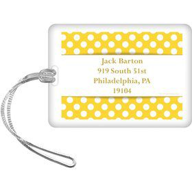 Yellow Dots Personalized Luggage Tag (Each)