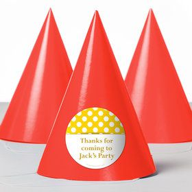 Yellow Dots Personalized Party Hats (8 Count)