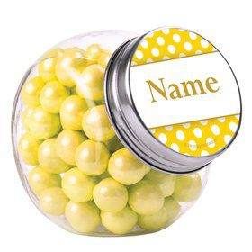Yellow Dots Personalized Plain Glass Jars (12 Count)