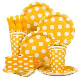 Yellow Dots Standard Tableware Kit Serves 8