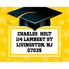 Yellow Grad Personalized Address Labels (Sheet Of 15)