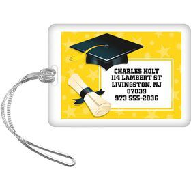 Yellow Grad Personalized Luggage Tag (Each)