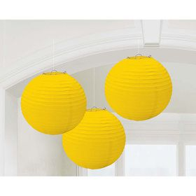 Yellow Paper Lantern Decorations (3 Count)