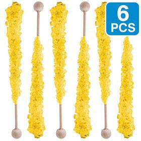 Yellow Pineapple Rock Crystal Candy Sticks (6 Pack)