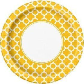 "Yellow Quatrefoil 9"" Luncheon Plates (8 Pack)"