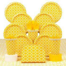 Yellow Quatrefoil Party Deluxe Tableware Kit Serves 16