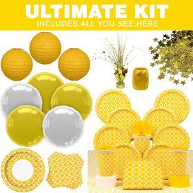 Yellow Quatrefoil Party Ultimate Tableware Kit Serves 16