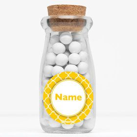 "Yellow Quatrefoil Personalized 4"" Glass Milk Jars (Set of 12)"