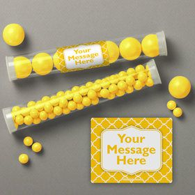 Yellow Quatrefoil Personalized Candy Tubes (12 Count)