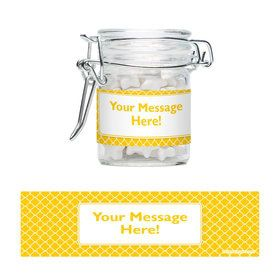 Yellow Quatrefoil Personalized Glass Apothecary Jars (10 Count)
