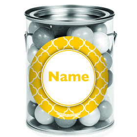 Yellow Quatrefoil Personalized Mini Paint Cans (12 Count)
