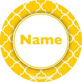 Yellow Quatrefoil Personalized Mini Stickers (Sheet of 20)