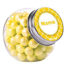 Yellow Quatrefoil Personalized Plain Glass Jars (10 Count)