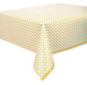 Yellow Quatrefoil Plastic Table Cover (Each)