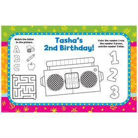 Yo Yo Dance Party Personalized Activity Mat (8 Pack)