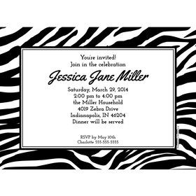 Zebra Animal Print Personalized Invitation (Each)