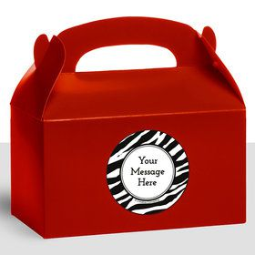 Zebra Animal Print Personalized Treat Favor Boxes (12 Count)