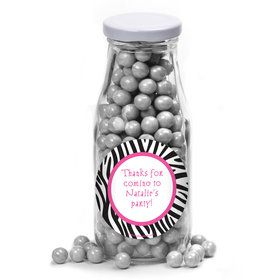 Zebra Party Personalized Glass Milk Bottles (10 Count)