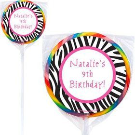 Zebra Party Personalized Lollipops (pack of 12)