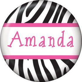 Zebra Party Personalized Mini Button (each)
