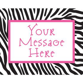 Zebra Party Personalized Rectangular Stickers (Sheet of 15)