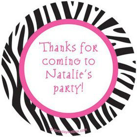 Zebra Party Personalized Stickers (sheet of 12)