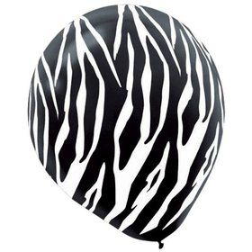 "Zebra Print Latex 12"" Balloons (6 Pack)"