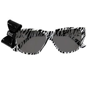 Zebra Print Nerd Glasses with Bow One size