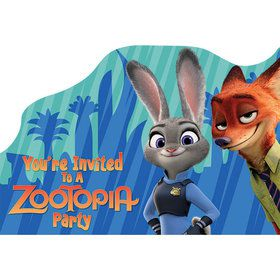 Zootopia Postcard Birthday Party Invitations (8 Count)